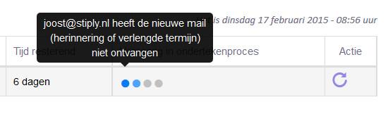 De klant heeft een nieuwe mail ontvangen. De status van de oude mail is hier niet langer zichtbaar.